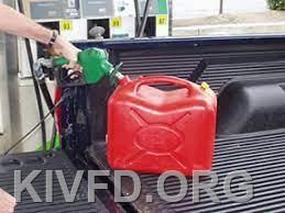 UNSAFE! Never fill a fuel container on a plastic bed liner. This can result in a fire due to static electricity.