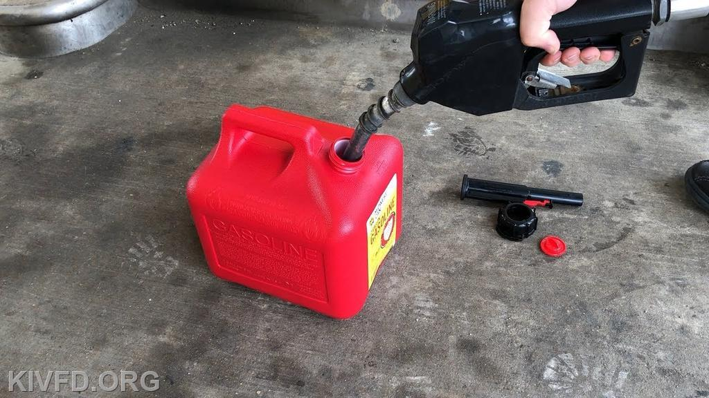 Proper way to fill container. Place container on the ground at the fuel dispenser.
